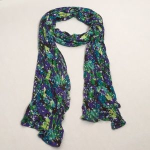 Accessories - Purple/Blue/Green Floral Watercolor Print Scarf